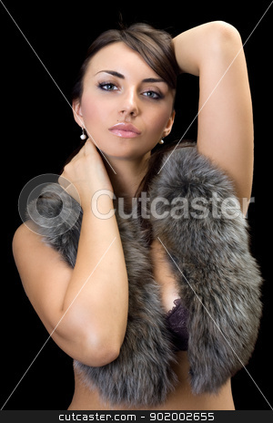 sexy brunette stock photo, Portrait of young sexy brunette. Isolated on black by Sergii Sukhorukov