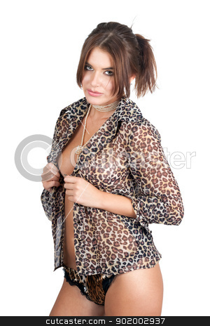 Portrait of the sexy young woman stock photo, Portrait of the sexy young woman in leopard shirt by Sergii Sukhorukov