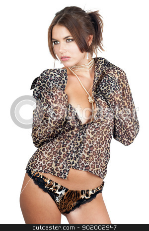 Portrait of the beautiful young woman stock photo, Portrait of the beautiful young woman in leopard shirt. Isolated by Sergii Sukhorukov