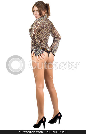 Beautiful leggy woman in leopard shirt stock photo, Beautiful leggy woman in leopard shirt. Isolated on white by Sergii Sukhorukov