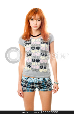 Portrait of sad pretty red-haired girl stock photo, Portrait of sad pretty red-haired girl. Isolated by Sergii Sukhorukov