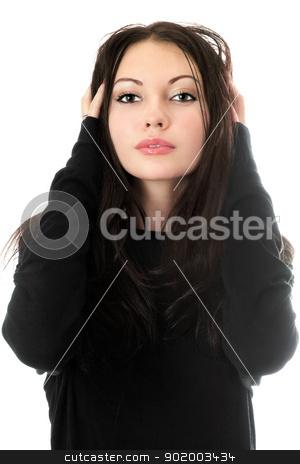 Young pretty woman in black stock photo, Portrait of young pretty woman in black. Isolated on white by Sergii Sukhorukov
