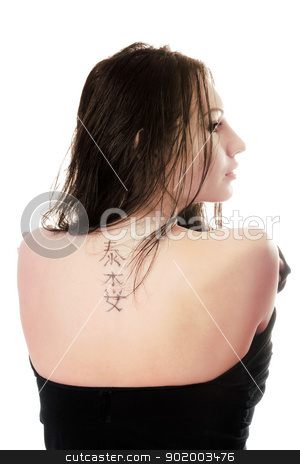 Tattoo on young caucasian woman stock photo, Tattoo on the back of young caucasian woman. Isolated by Sergii Sukhorukov