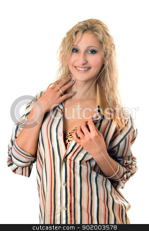 Playful young blonde stock photo, Playful young blonde in a striped men's shirt by Sergii Sukhorukov