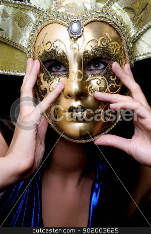 girl in a Venetian mask stock photo, Portrait of girl in a Venetian mask by Sergii Sukhorukov