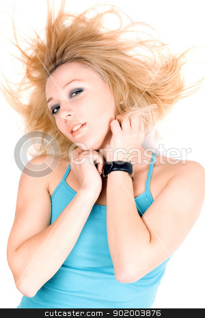 Portrait of sexy young blond girl stock photo, Portrait of sexy young blond girl lying on a white by Sergii Sukhorukov