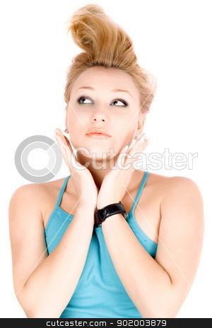 Portrait of pretty blond girl stock photo, Portrait of pretty blond girl lying on a white by Sergii Sukhorukov