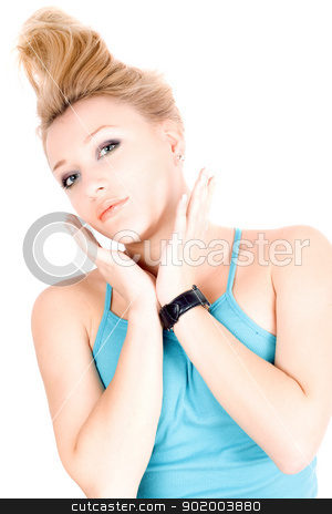 Portrait of beautiful blond girl stock photo, Portrait of beautiful blond girl lying on a white by Sergii Sukhorukov