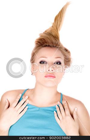 Portrait of attractive blond girl stock photo, Portrait of attractive blond girl lying on a white by Sergii Sukhorukov