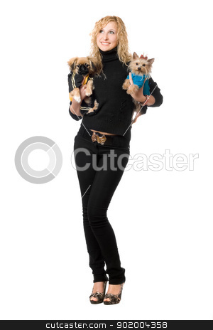 Cheerful young blonde posing with two dogs stock photo, Cheerful young blonde posing with two dogs. Isolated by Sergii Sukhorukov