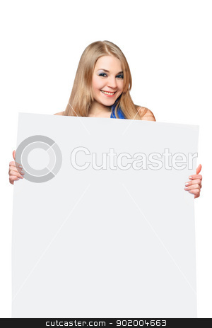 Happy young woman posing with white board stock photo, Happy young woman posing with white board. Isolated by Sergii Sukhorukov
