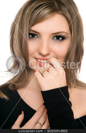 Portrait of a beautiful young woman stock photo, Portrait of a beautiful young woman. Isolated by Sergii Sukhorukov