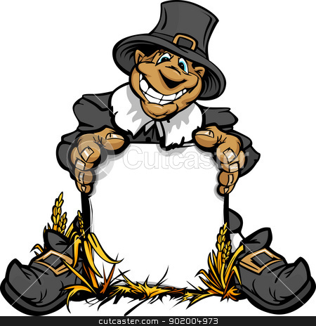 Happy Thanksgiving Pilgrim with Sign Cartoon Vector Illustration stock vector clipart, Cartoon Vector Image of a Happy Thanksgiving Holiday Pigrim Holding a Sign by chromaco