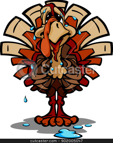 Nervous Thanksgiving Holiday Turkey Cartoon Vector Illustration stock vector clipart, Cartoon Vector Image of a Sweating Thanksgiving Holiday Turkey with Worried Expression by chromaco