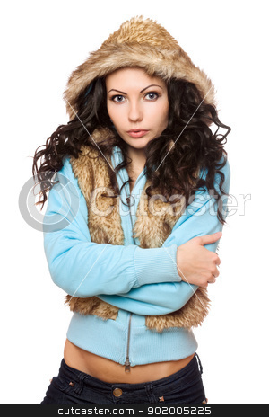 Portrait of perfect young brunette in the hood. Isolated stock photo, Portrait of perfect young brunette in the hood. Isolated on white by Sergii Sukhorukov