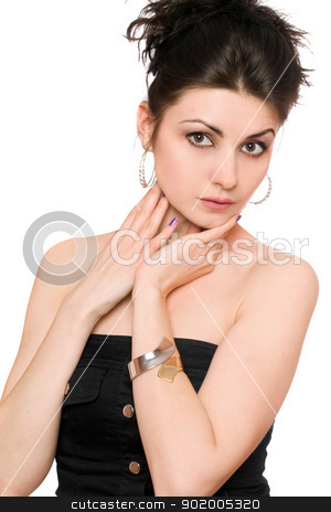 Portrait of young woman in a black dress stock photo, Portrait of young woman in a black dress. Isolated by Sergii Sukhorukov
