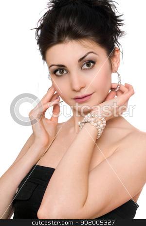 Portrait of lovely brunette. Isolated stock photo, Portrait of lovely brunette. Isolated on white by Sergii Sukhorukov