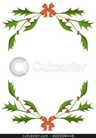 Holly frame stock vector clipart, Frame of a holly branches by Viacheslav Belyaev