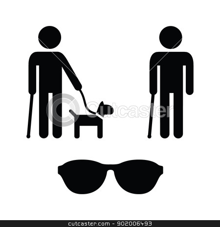 Blind man icons set - with guide dog, walking stick stock vector clipart, Blind person icon with cane, dog and sunglasses icons set by Agnieszka Bernacka