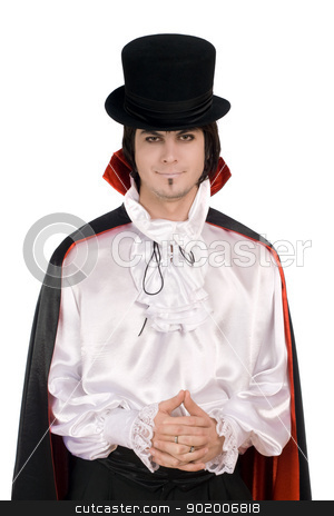 young man in a suit of Count Dracula stock photo, Smiling young man in a suit of Count Dracula by Sergii Sukhorukov