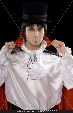 man in a suit of Count Dracula stock photo, Portrait of young man in a suit of Count Dracula by Sergii Sukhorukov