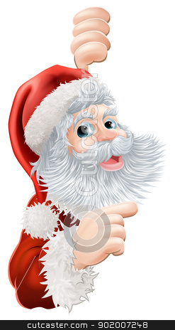 Christmas Santa Claus stock vector clipart, Illustration of happy Christmas Santa Claus peeping round and pointing by Christos Georghiou