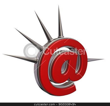email punk stock photo, email symbol with prickles on white background- 3d illustration by J?