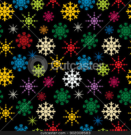 Snowflakes pattern stock vector clipart, Winter holidays seamless pattern with colored snowflakes, abstract art by Richard Laschon