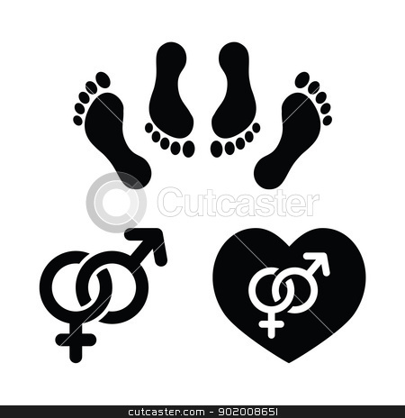 Couple sex, making love icons set stock vector clipart, Sex, relationship concept - black icons set, feet in bed, male and female signs by Agnieszka Bernacka