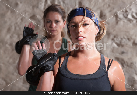 Boot Camp Fitness Partners stock photo, Young fitness partners resting weight over shoulder by Scott Griessel