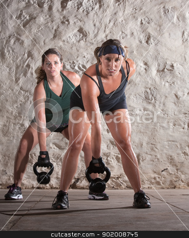Two European Woman in Boot Camp Workout stock photo, Two European women lifting heavy weights and sweating by Scott Griessel