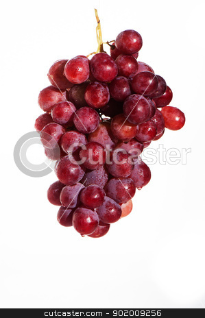 Red grape stock photo, Red grape isolated on white background by p.studio66