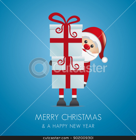 santa hold gifts with red ribbon stock vector clipart, santa hold gift boxes with red ribbon by d3images