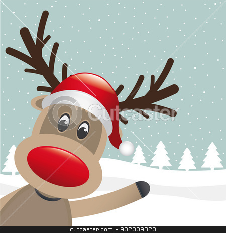 reindeer wave hand on winter landscape stock vector clipart, reindeer hat wave hand on winter landscape by d3images