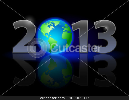 Twenty Thirteen Year stock photo, Twenty Thirteen Year. Earth. Illustration on black background by dvarg