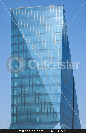 Office building stock photo, Contemporary office building side, blue glass windows by Aleksandar Varbenov