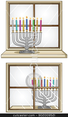 Hanukkiah On A Window stock vector clipart, A Vector illustration of Hanukkiah with candles in front and behind a window for the Jewish holiday Hanukkah. by Liron Peer