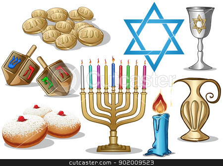 Hanukkah Symbols Pack stock vector clipart, A pack of Vector illustrations of famous symbols for the Jewish Holiday Hanukkah. by Liron Peer