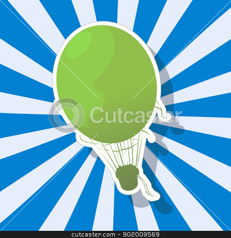 The fantastic Hot Air Balloon stock vector clipart, Retro art drawing of a imaginary Hot Air Balloon and shadow over a stripped background. by Richard Laschon