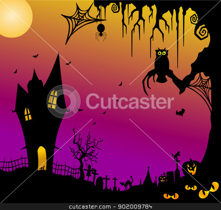 Halloween background with castle and cemetery in dark halloween night  stock vector clipart, Halloween background with castle and cemetery in dark halloween night  by Tijana Mihajlovic