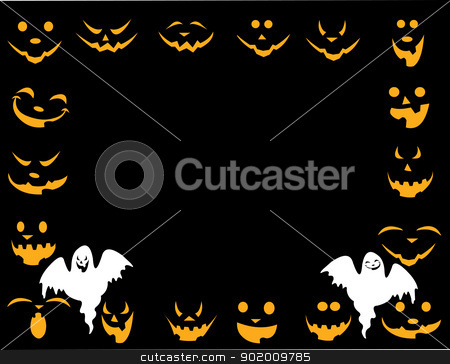 Halloween background with different faces and good and evil ghost layered  stock vector clipart, Halloween background with different faces and good and evil ghost layered  by Tijana Mihajlovic