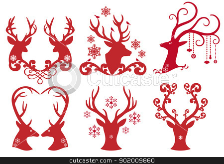 Christmas deer stag heads, vector  stock vector clipart, Christmas deer stag heads, vector design element set by Beata Kraus