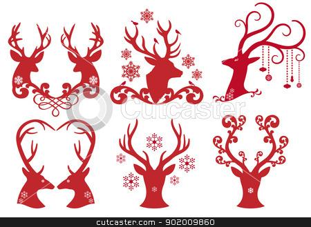 Christmas deer stag heads, vector  stock vector clipart, Christmas deer stag heads, vector design element set by Beata Kraus