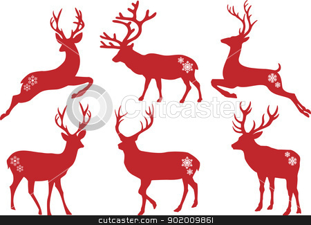 Christmas deer stags, vector set stock vector clipart, Christmas deer stag silhouettes, vector set by Beata Kraus
