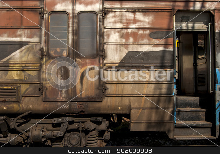Old abandoned wagon grunge side stock photo, Old abandoned railway wagon grunge side as backgroung by Aleksandar Varbenov
