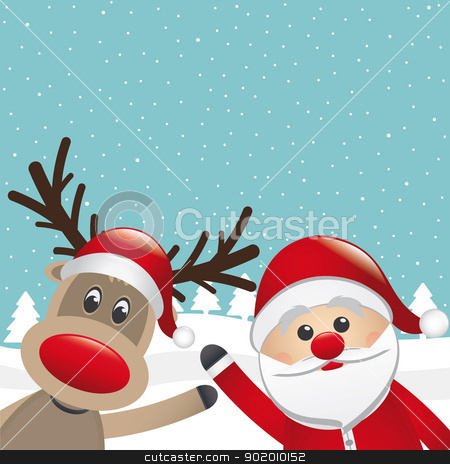 santa claus and reindeer winter landscape stock vector clipart, santa claus and reindeer wave winter landscape by d3images