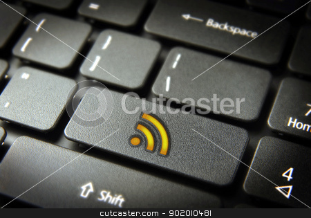 Golden rss keyboard key, internet business background stock photo, Golden technology RSS icon key on laptop keyboard. Included clipping path, so you can easily edit it. by Cienpies Design