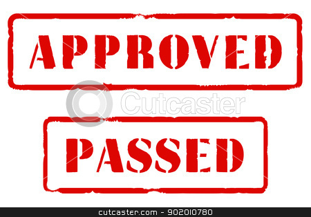 Approved and PAssed stock vector clipart, A pair of rubber stamps in red ink with the legends 'APPROVED' and 'PASSED'. by Kotto