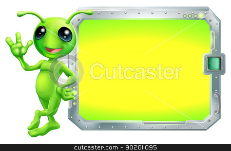 Alien with sign or screen stock vector clipart, A cute green alien with a sign or screen with copyspace  by Christos Georghiou