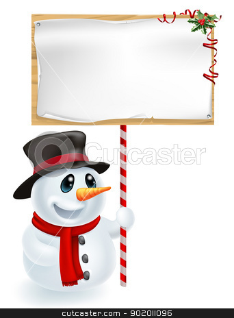 Christmas Snowman Holding Sign stock vector clipart, Happy Christmas snowman holding a Christmas sign and smiling by Christos Georghiou